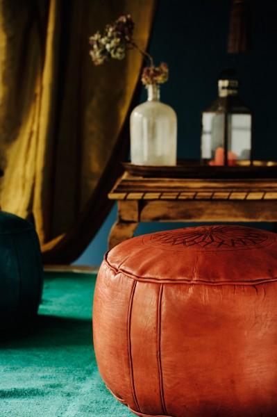 Lederpouf 'Stern' flach, cognacbraun, Ø 40 cm, H 24 cm
