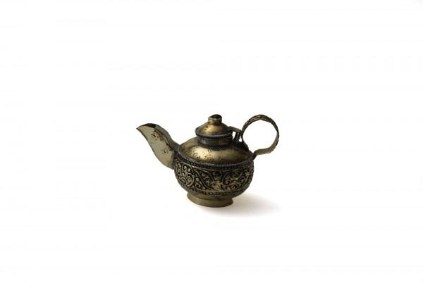 "Pillendose/Schmuckdose ""Tea"", handgefertigt, silber, Ø 5 cm, H 8 cm"