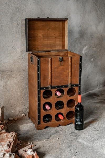 Koffertruhe 'Mula' mit 9er Weinfach, braun, T 40 cm, B 30 cm, H 70 cm