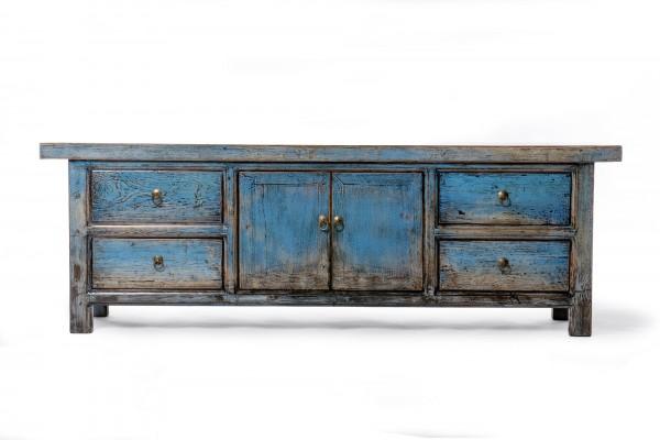 TV-Board, mit 2 Türen und 4 Schubladen, antik-blau, L 42 cm, B 175 cm, H 58 cm