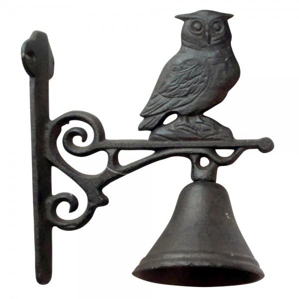 "Glocke ""Eule"", antik-braun, L 18 cm, H 19 cm"