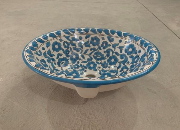 Keramikwaschbecken 'Ranke', blau, weiß, T 45 cm, B 37 cm, H 17 cm