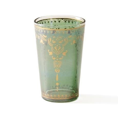 Teeglas, dunkelgrün, H 8,5 cm, Ø 5 cm