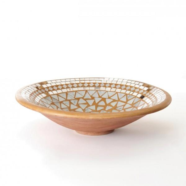 Mosaikteller groß, aprikose/weiß, H 8,5 cm, Ø 37,5 cm
