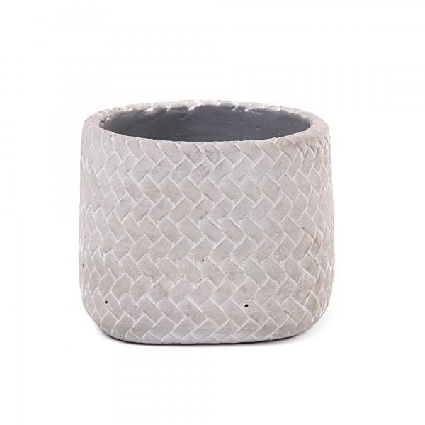 Übertopf 'Tissage' M, grau, white-wash, Ø 14,5 cm, H 13 cm