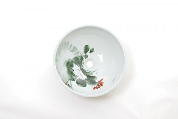 Waschschüssel weiße Malerei, weiß, T 41 cm, B 16 cm
