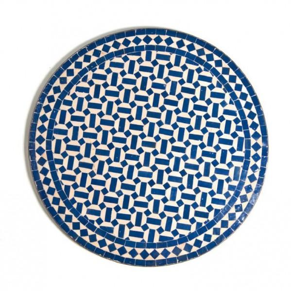 Mosaiktisch rund, blau, weiß, Ø 80 cm, H 73 cm