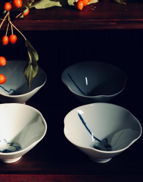 Keramikschale, weiß, blau, Ø 15 cm, H 8 cm