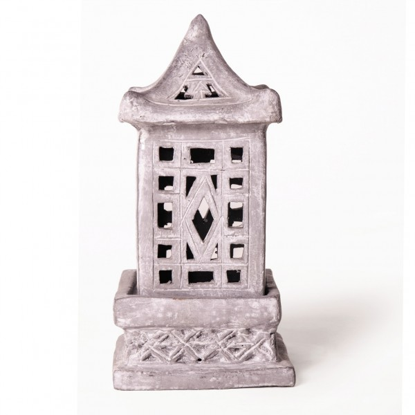 Tempelleuchte, aus Ton, L 14 cm, B 14 cm, H 30 cm