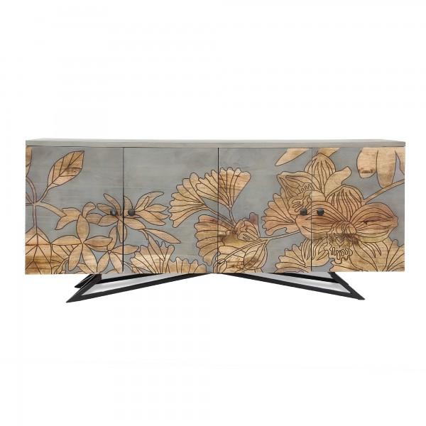 Sideboard 'Loisette', antikblau/grau, braun, T 45 cm, B 177 cm, H 75 cm