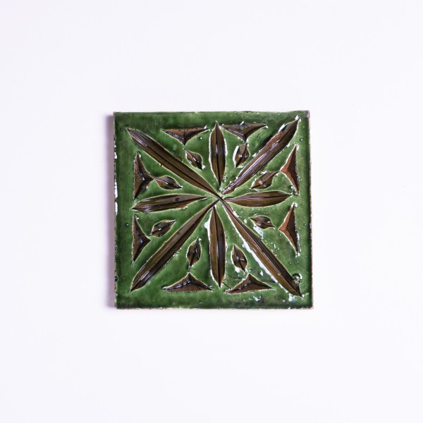 handglasierte Kachel 'Parure vert', grün, L 10 cm, B 10 cm
