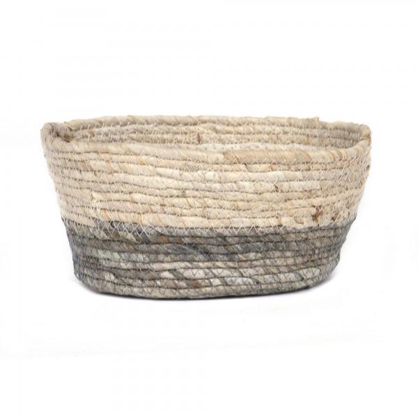 Korb 'Mezzo' L, natur, grau, Ø 25 cm, H 11 cm