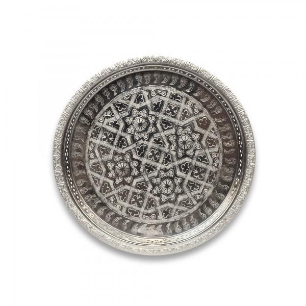 Teetablett 4 Sterne mit Fuß, silber, schwarz, Ø 30 cm, H 3,5 cm