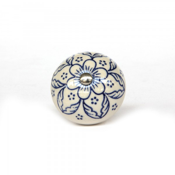 Knopf 'Blume', weiß, blau, T 4 cm, B 4 cm, H 3,5 cm