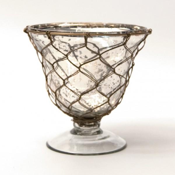 "Pokal ""Muscron"" mit Drahtgeflecht, klar/silber, H 15 cm, Ø 15 cm"