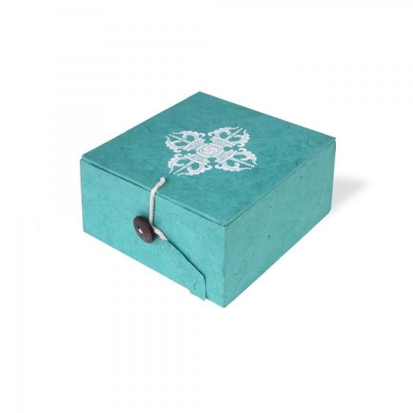 Lokta Box Vajra, blaugrün, T 11 cm, B 11 cm, H 5,5 cm