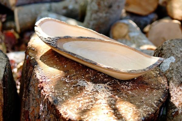 Baumrinden-Schale oval, dunkelbraun, T 41 cm, B 15 cm, H 7 cm