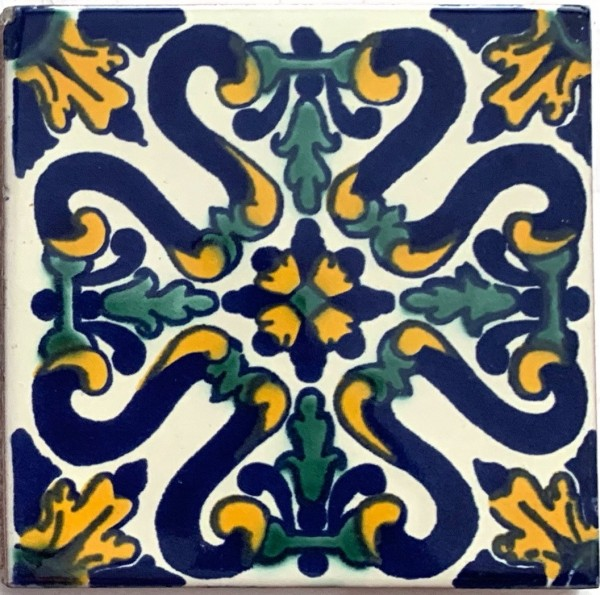 Kachel 'Provincia', blau, gelb, grün, T 10 cm, B 10 cm, H 0,5 cm