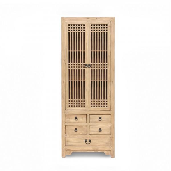 Schrank 'Ivo', 5 Schubladen, 2 Türen, natur, T 38 cm, B 80 cm, H 210 cm
