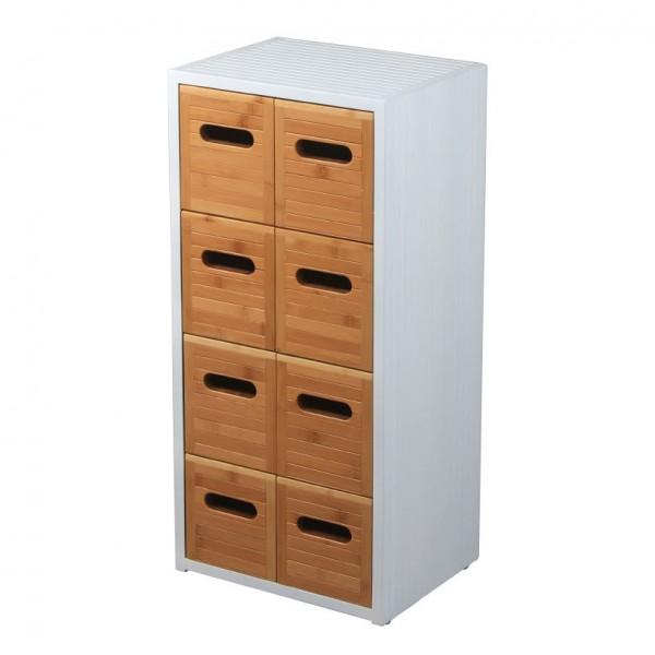 Schrank 'Fifties' mit 8 Schubladen, weiß, natur, T 24 cm, B 31 cm, H 66 cm
