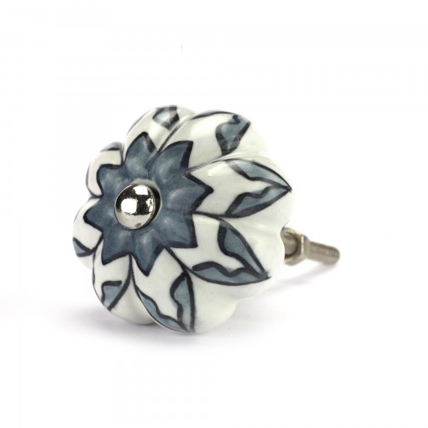 Knauf Blume, grau, weiß, Ø 4 cm, H 2,5 cm