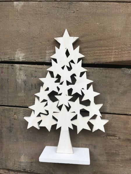 Holzbaum mit Sternenkleid, natur, T 14 cm, B 4 cm, H 22 cm
