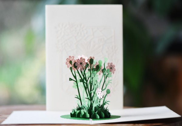 Pop Up Karte 'Blume', flieder, T 18 cm, B 13 cm