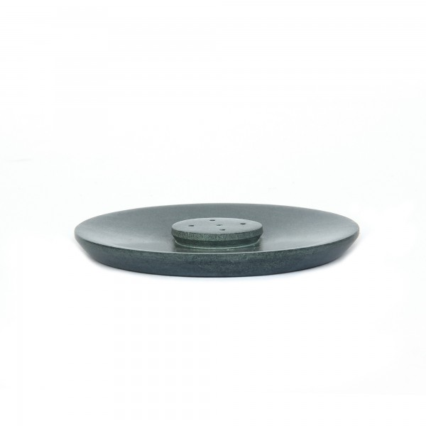 Räucherstäbchenhalter rund grauer Speckstein, grau, Ø 10 cm, H 8 cm