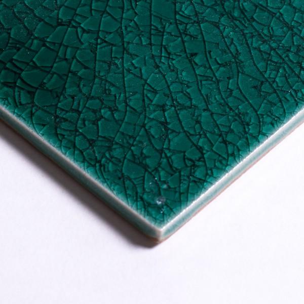 Fliese 'Craquele' dunkelgrün, L 10 cm, B 10 cm