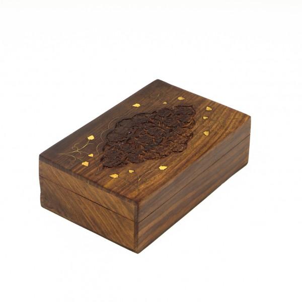 Holzschatulle mit Messingintarsien, braun, L 13 cm, B 20 cm, H 6 cm