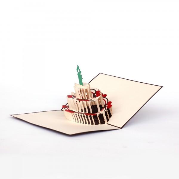 Pop Up Karte 'Schwarzwälderkirschtorte' mit grüner Kerze, weiß, rosa, T 18 cm, B 13 cm