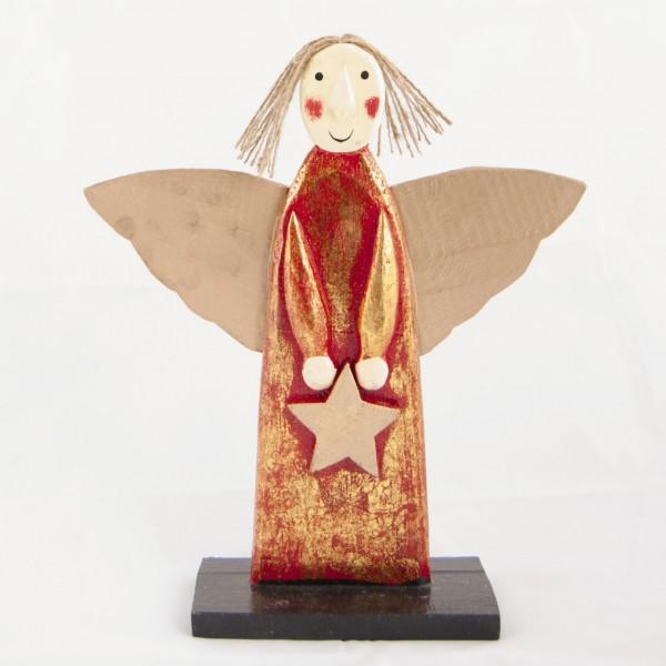 Holzengel mit Goldflügel, rot, H 27 cm