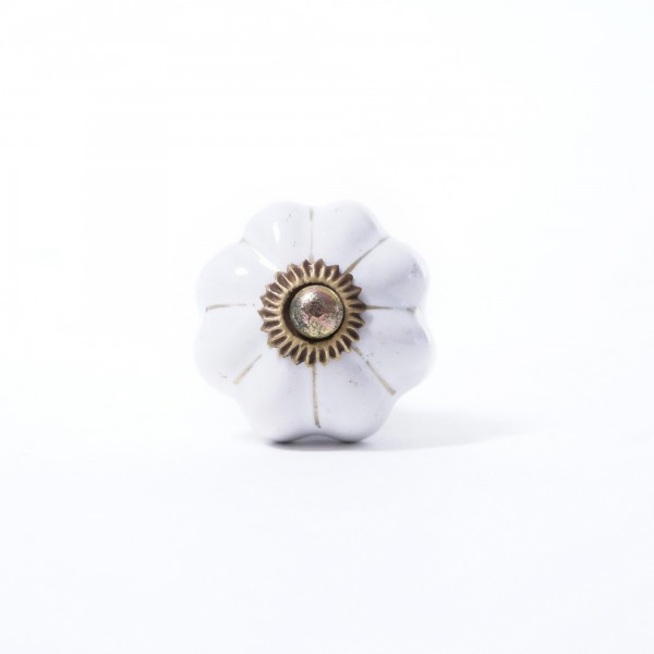 """Keramik Möbelknopf """"Blume"""", handglasiert, weiß, Ø 3,5 cm"""