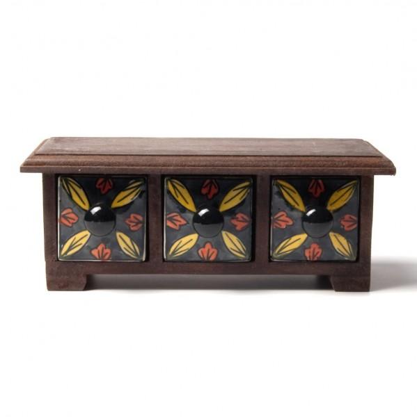 Schmucktruhe mit 3 Schubladen, schwarz/braun, L 10 cm, B 24 cm, H 8,5 cm