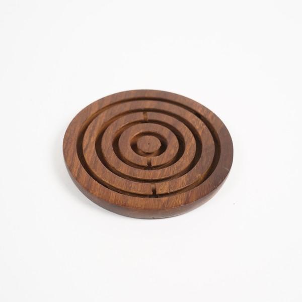 Gedulds-Spiel aus Palisanderholz, braun, Ø 8 cm, H 1 cm