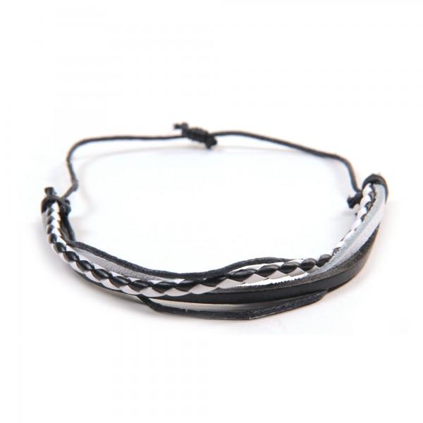 "Armband ""Jay"", aus Leder, schwarz/weiß"