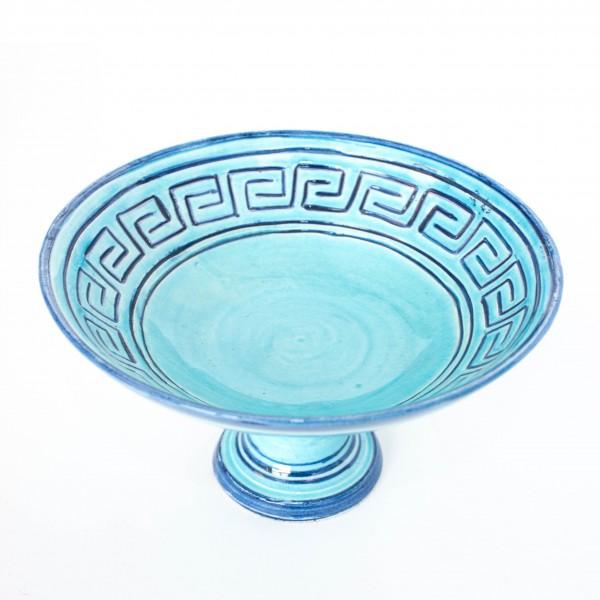 Safischale mit Fuß, blau, H 11 cm, Ø 19 cm