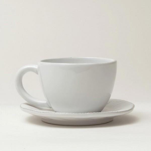 """Tasse """"Organic"""" mit Unterteller, weiß, H 6,5 cm, Ø 10 cm"""