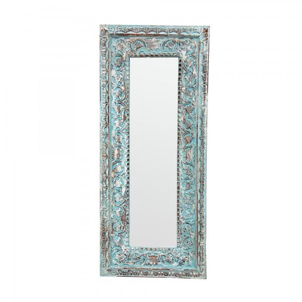 Spiegel mit Rahmen, Schnitzereien, türkis, T 4 cm, B 52 cm, H 123 cm