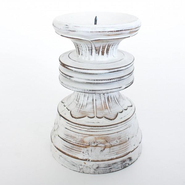 Kerzenhalter, antik-weiß, H 20 cm, Ø 14 cm