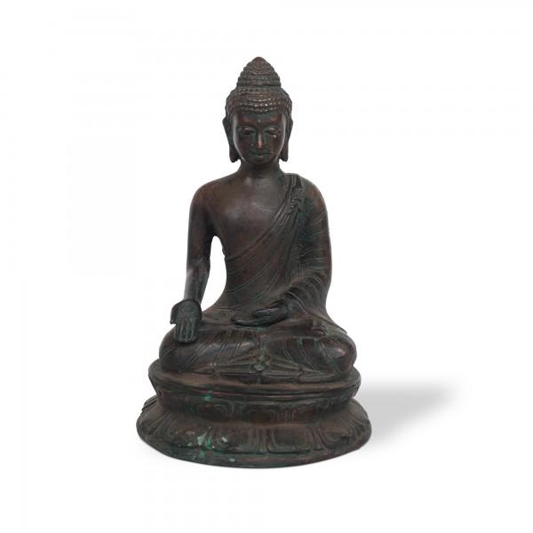 Buddha sitzend, grün, T 11 cm, B 10 cm , H 18 cm