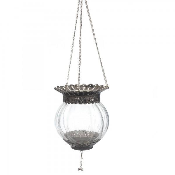 Teelichthalter Glas hängend, silber, Ø 13 cm, H 16 cm