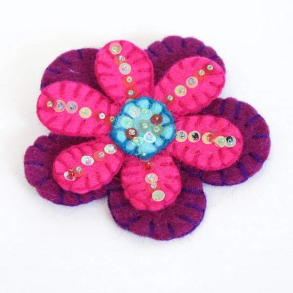 "Brosche ""Blume"", lila/pink, Ø 9 cm"