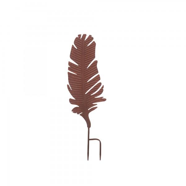 Gartenstecker 'Feder', rostbraun, T 2 cm, B 17,5 cm, H 59,5 cm