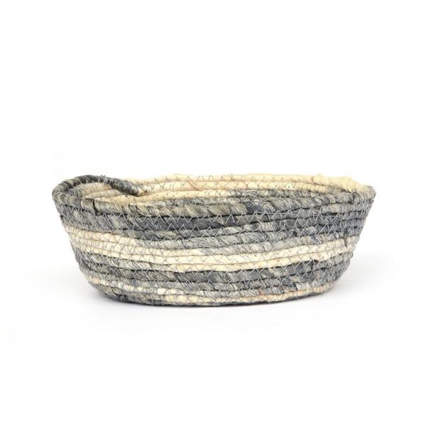 Korb 'Feltria' S, blaugrau, natur, Ø 19 cm, H 8 cm