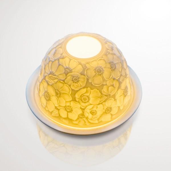 """Windlicht """"Cerisier"""" aus Porzellan, Ø 12 cm, H 7,5 cm"""
