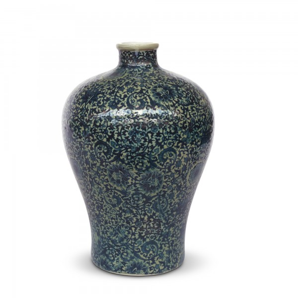Vase 'Shìliù', grün, blau, Ø 19 cm, H 17 cm