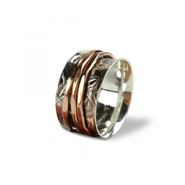 Ring 925 Silber mit 3 Kupferbändern, Silber, Kupfer