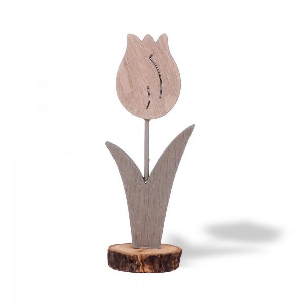 Holzblume Tulpe, grau, T 5 cm, B 3,5 cm, H 12,5 cm