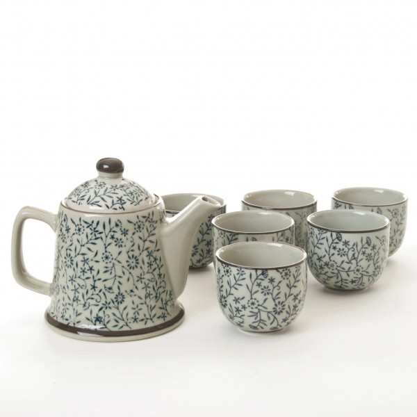 "Teeservice ""Lishan"", 6 Tassen & Teekanne, grau/blau"